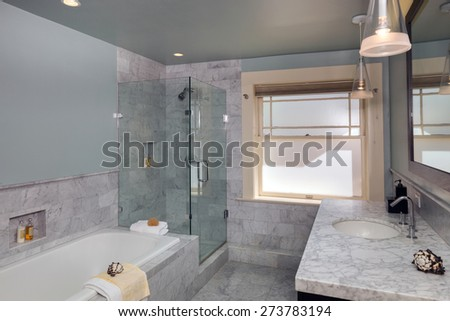 Modern bathroom in white with Marble counter tops and all new appliances including glass shower and bath tub.  - stock photo