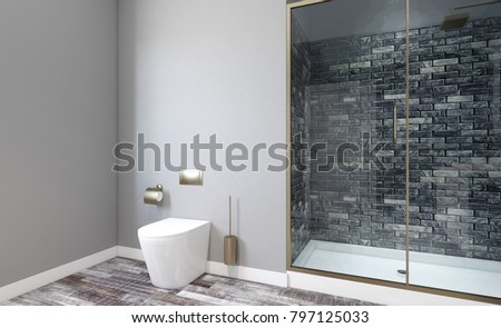 Modern bathroom including bath and sink. 3D rendering.