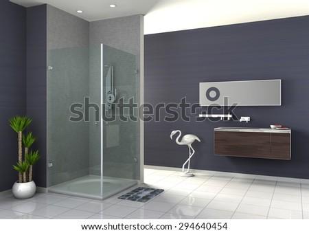Modern Bathroom interior collection 3D rendering - stock photo