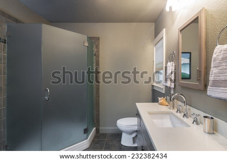 Modern bathroom interior in grey with glass door shower and marble countertop - stock photo