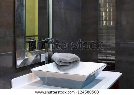 Modern bathroom interior - luxury design closeup - stock photo