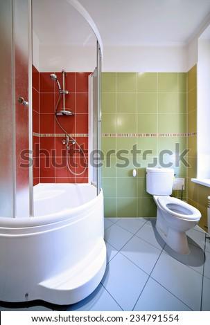 Modern Bathroom Interior, shower cabin, mirror, sink. Vertical. - stock photo