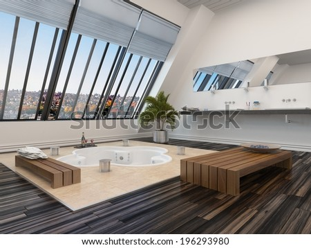 Modern bathroom interior with a sunken spa bath in a parquet floor and panoramic sloping view windows down one wall allowing in plenty of daylight - stock photo