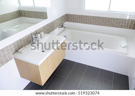 Modern Bathroom interior with bath tub and sink