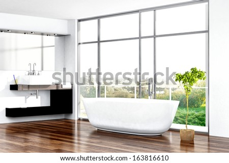 Modern bathroom interior with bathtub against window - stock photo