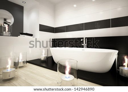 Modern bathroom interior with bathtub and candles - stock photo