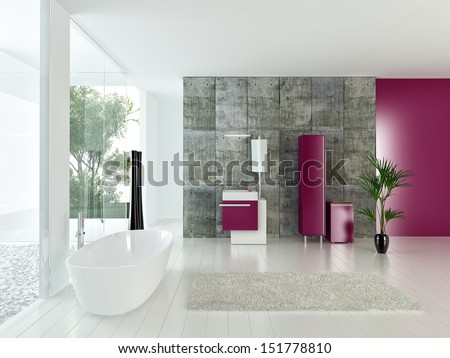 Modern bathroom interior with concrete wall and pink furniture - stock photo