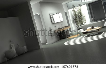 Modern Bathroom Interior with Concrete Walls - stock photo