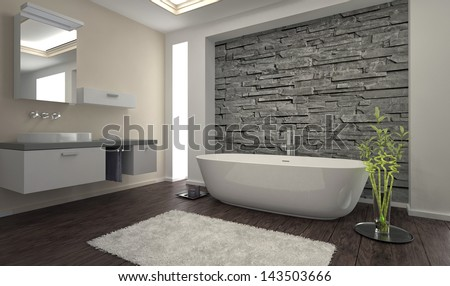 Modern Bathroom Interior Stone Wall Stock Photo 143503666