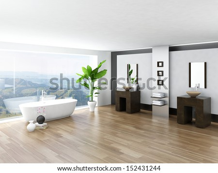 Modern Bathroom interior with white bathtub against huge window with landscape view