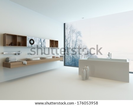 Modern bathroom interior with window and snowy landscape view - stock photo