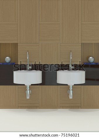 Modern Bathroom, sink and faucet - stock photo