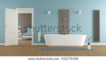 modern bathroom with bathtub of the master bedroom- 3d rendering - stock photo
