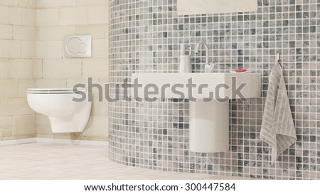 Modern bathroom with closet and sink - stock photo