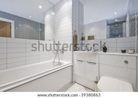 modern bathroom with decorative elements in white