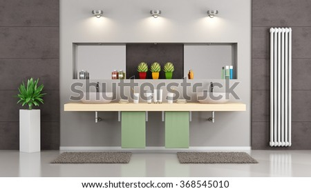 Modern bathroom with double washbasin on wooden shelf , niche with mirror and objects - 3d Rendering - stock photo