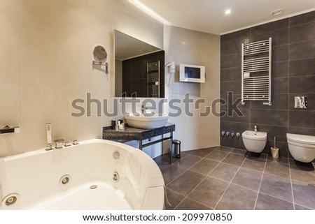 Modern bathroom with jacuzzi bath - stock photo