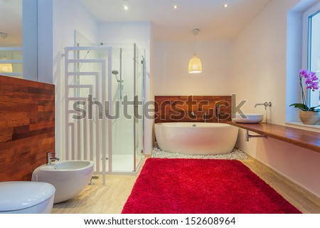 Modern bathroom with red cozy carpet - stock photo