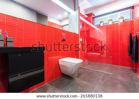 Modern bathroom with red tiles with toilet and cabin