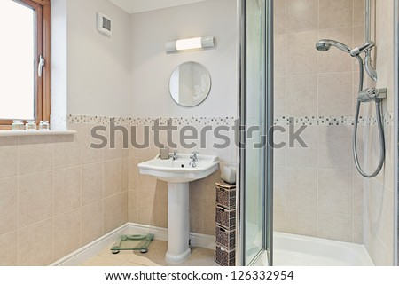 Modern Bathroom with Shower - stock photo
