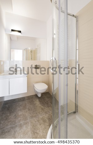 Modern bathroom with shower interior design
