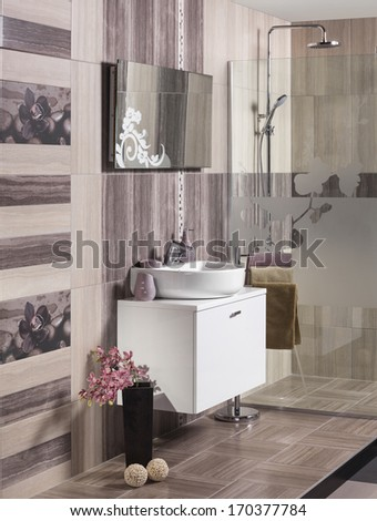 modern bathroom with sink, shower and accessories - stock photo