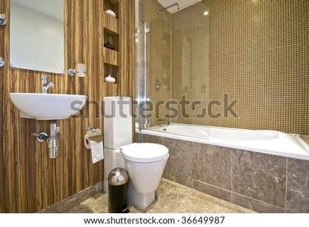 modern bathroom with wood imitation wall and marble foor tiles