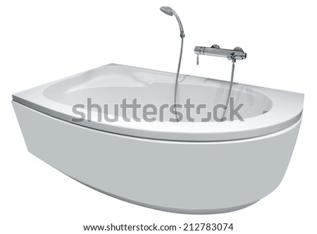 Modern bathtub with shower, isolated on white. Clipping path included.