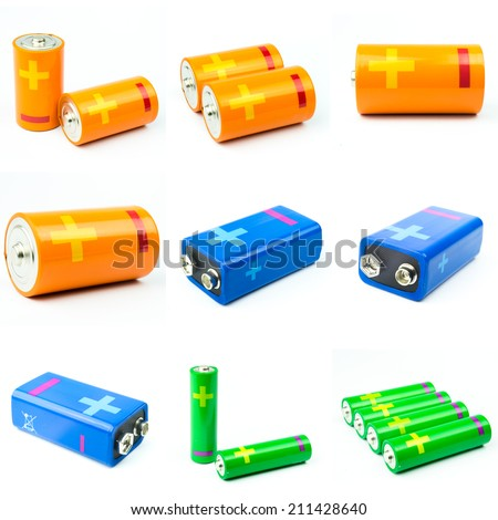 modern battery aa, aaa alkaline cadmium chemical on white background  - stock photo