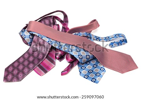modern beautiful ties on a white background - stock photo