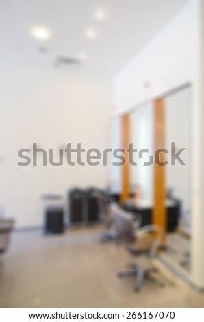 Modern beauty salon blur background panorama with bokeh - stock photo