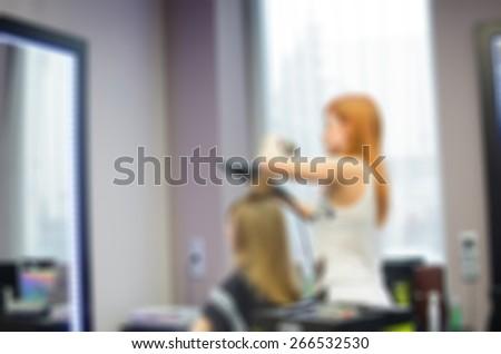 Modern beauty salon blur background with bokeh - stock photo