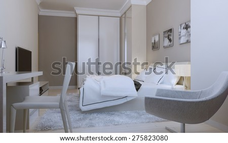 Modern bedroom design. 3d render