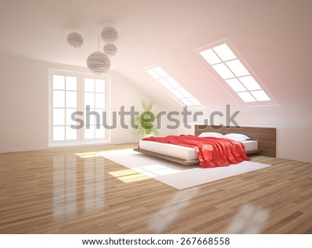 modern bedroom design-3D rendering - stock photo