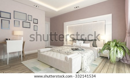 modern bedroom design with pink wall, plant and frames 3d rendering - stock photo