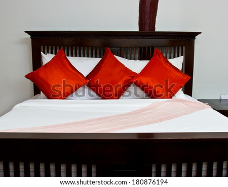 Modern bedroom in hotel - stock photo