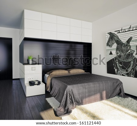 modern bedroom interior/ - stock photo