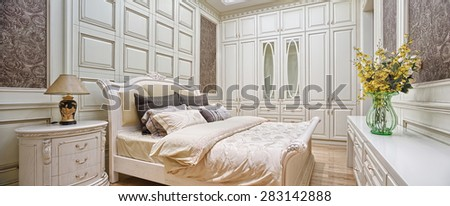 modern bedroom interior and decor - stock photo