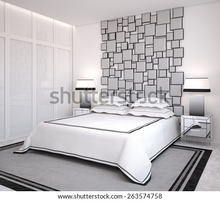 Modern bedroom interior. 3d render. - stock photo
