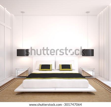 Modern bedroom interior. 3d rendering. - stock photo