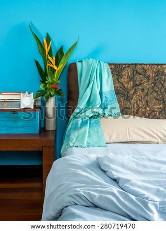 Modern bedroom interior design with blue tone - stock photo