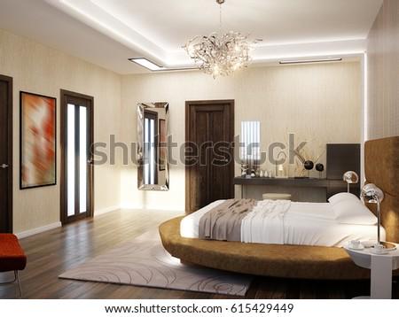 modern bedroom interior design with round bed 3d rendering
