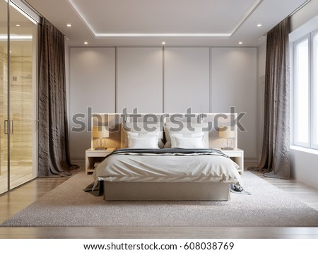 Modern Bedroom Interior Design With White Walls, Soft Beige Curtains, White  Furniture And Large