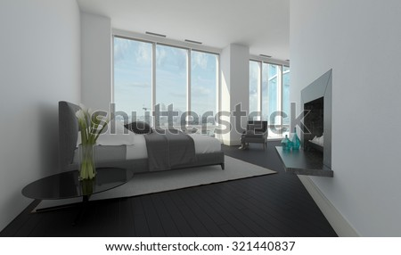 Modern bedroom interior in an angled room with large panoramic windows, a double bed and recessed built in fireplace, 3d rendering