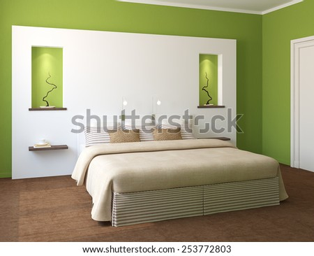 Modern bedroom interior with green walls and king-size bed. 3d render.