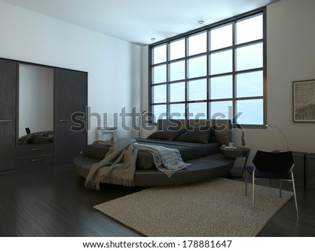 Modern bedroom interior with huge window