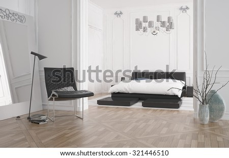 Modern bedroom interior with large recessed double bed in an alcove with white wall and a hardwood parquet floor, 3d rendering - stock photo