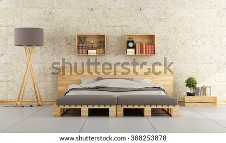 Modern bedroom with bed pallet on brick wall - 3D Rendering - stock photo