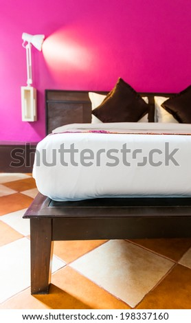 Modern Bedroom with empty wall to add some text, logo, image, etc. - stock photo