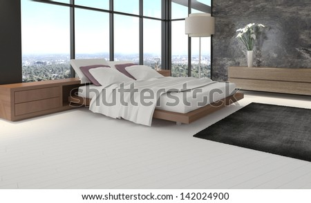 Modern bedroom with floor to ceiling windows - stock photo